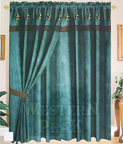 Western Peak Texas Star Embroidery Linen Large Window Curtain 2 Panel Turquoise