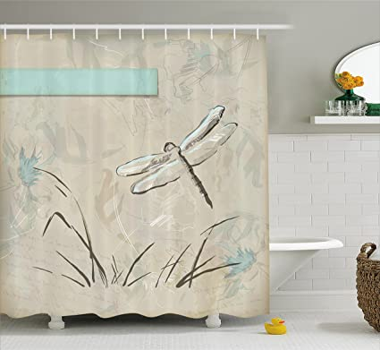 Ambesonne Dragonfly Shower Curtain Romantic Vintage Sketch In Pastel Grass Birthday Grunge Botany Artwork