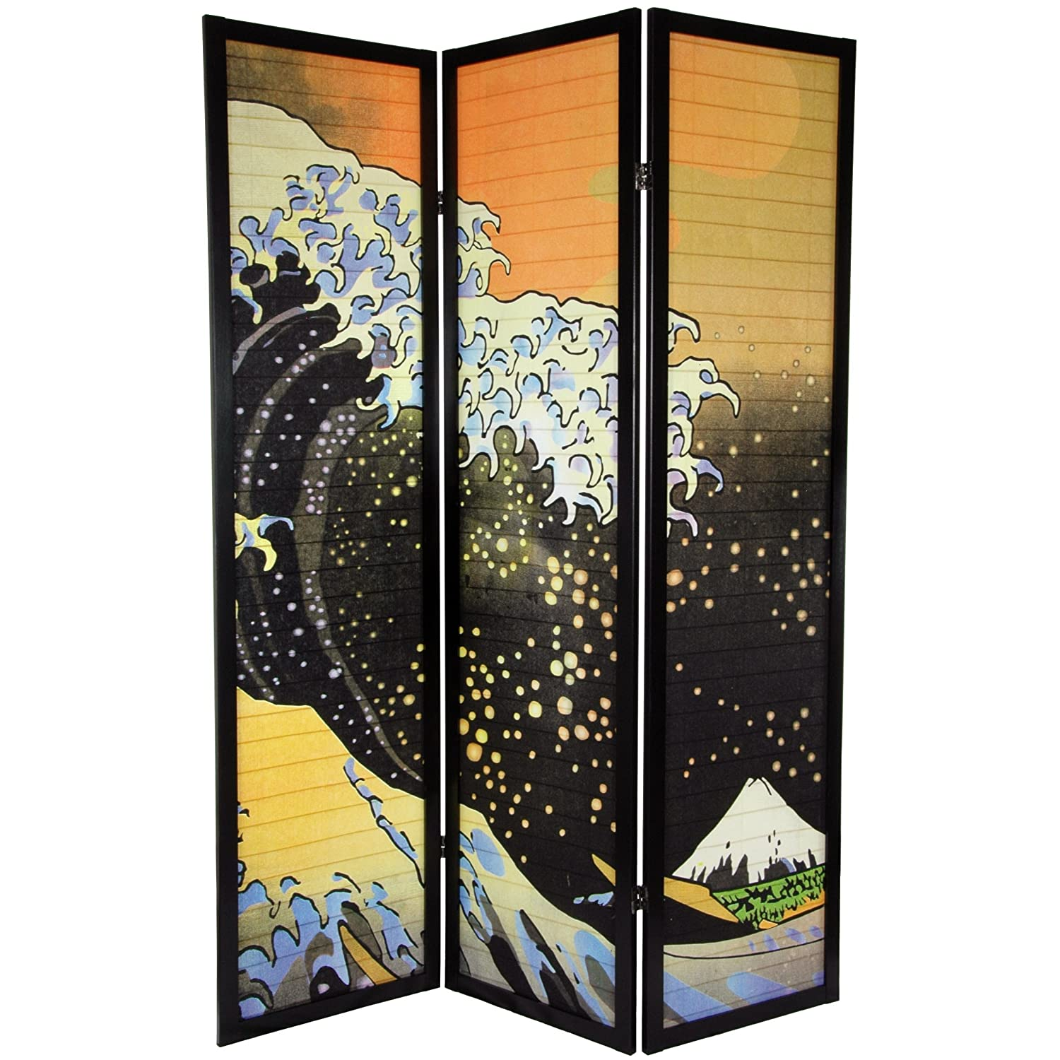 Amazon.com: Oriental Furniture 6 ft. Tall Japanese Wave Shoji Screen - 3  Panels: Kitchen & Dining - Amazon.com: Oriental Furniture 6 Ft. Tall Japanese Wave Shoji
