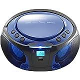 Lenco Boombox SCD-550 blue Tragbar mit Discolichteffekt, FM Radio, USB Playback, Bluetooth, AUX-Eingang, Kopfhörerbuchse blau