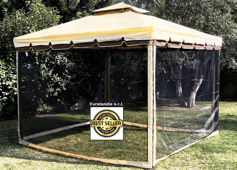 Gazebo Da Giardino Prezzi : Gazebo colore ecru 3x3 giardino in alluminio copertura 450 gr