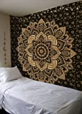 Madhu International Exclusive Black Gold Mandala Tapestry, Bohemian Gold Mandala Tapestries, Twin Size Mandala Wall Hanging Throw Home Decor