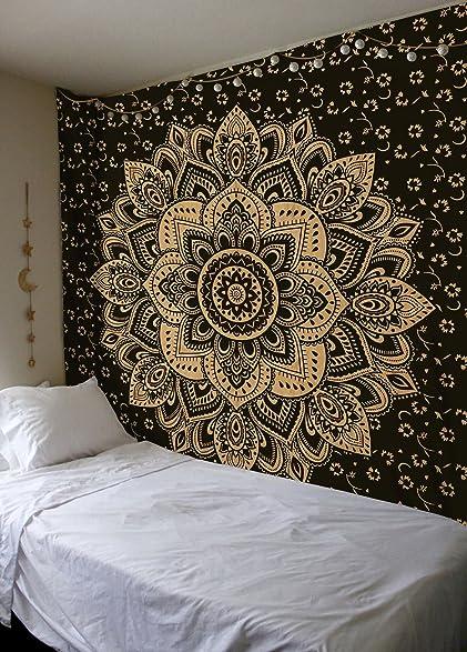 Madhu International Exclusive Black Gold Mandala Tapestry, Bohemian Gold  Mandala Tapestries, Queen Size Mandala