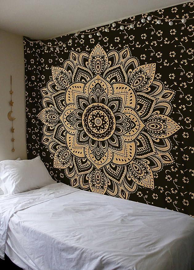 Amazoncom Madhu International Exclusive Black Gold Mandala
