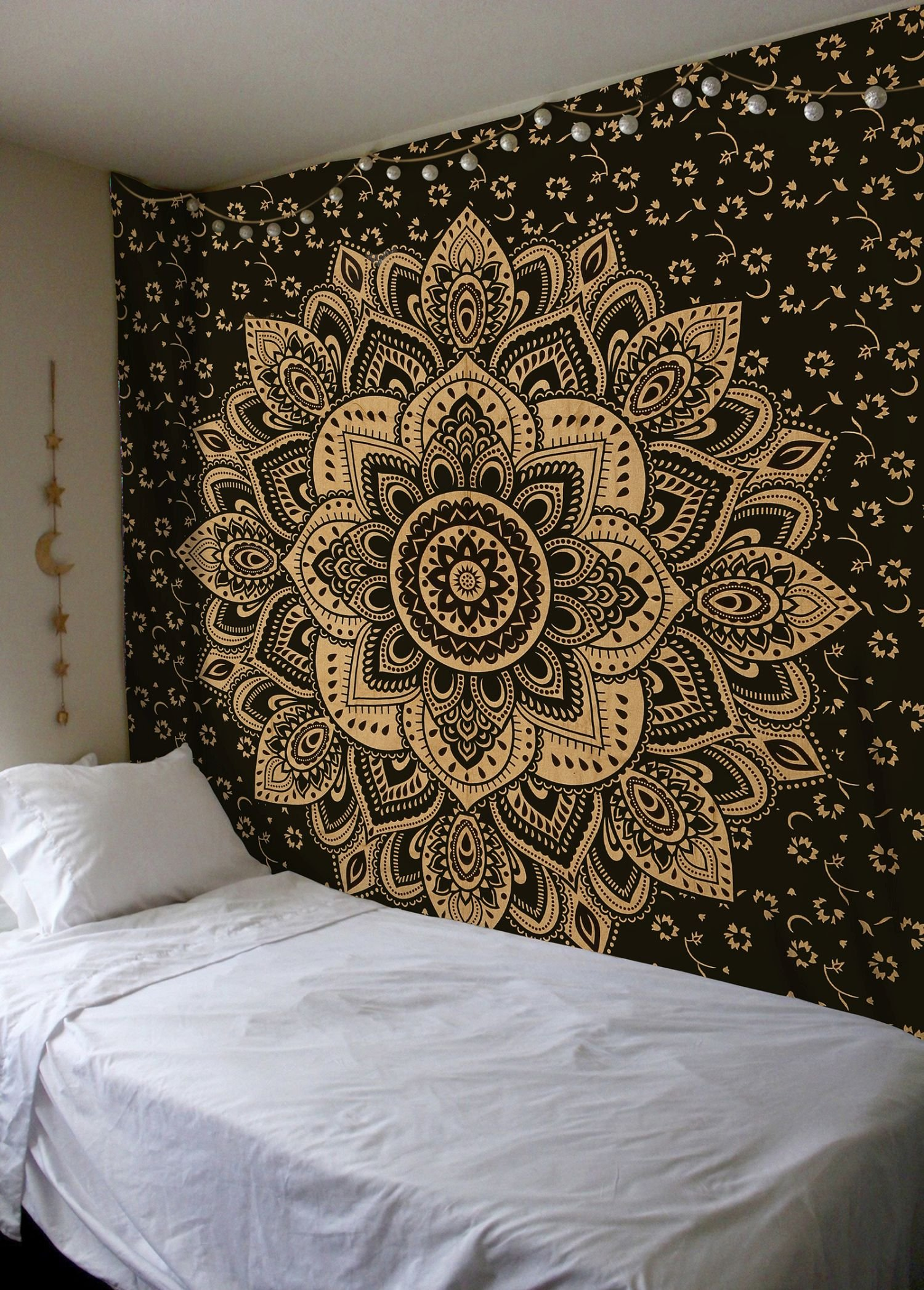Madhu International Exclusive Black Gold Mandala Tapestry, Bohemian Gold Mandala Tapestries, Queen Size Mandala Wall Hanging Throw Home Decor