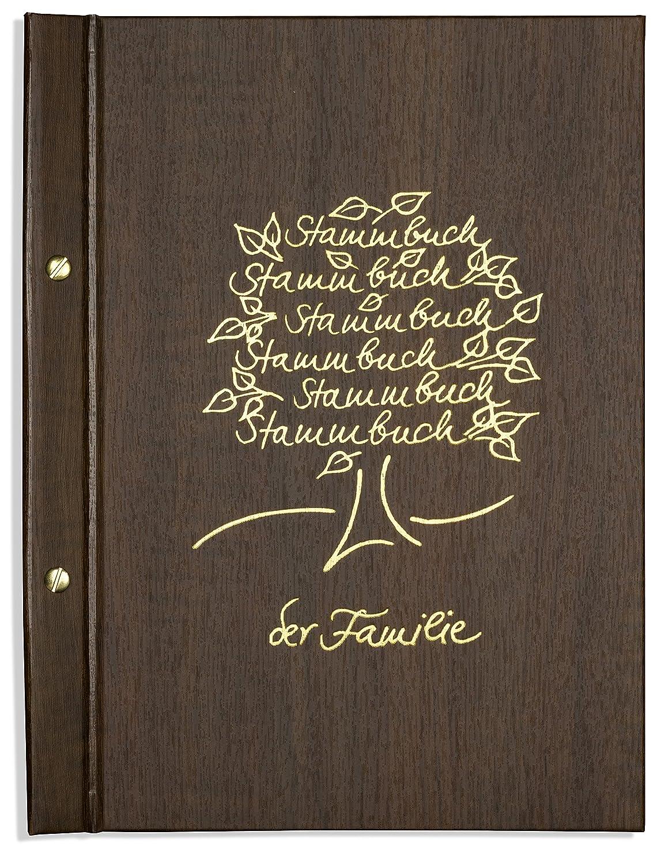 Stammbücher Din A4 Stammbuch der Familie Namu Goldprägung Baum Nußbaumoptik