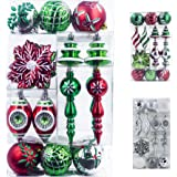 Valery Madelyn 50ct Classic Collection Splendor Shatterproof Christmas Ball Ornaments Red Green Silver and White,50 Metal Hooks Included
