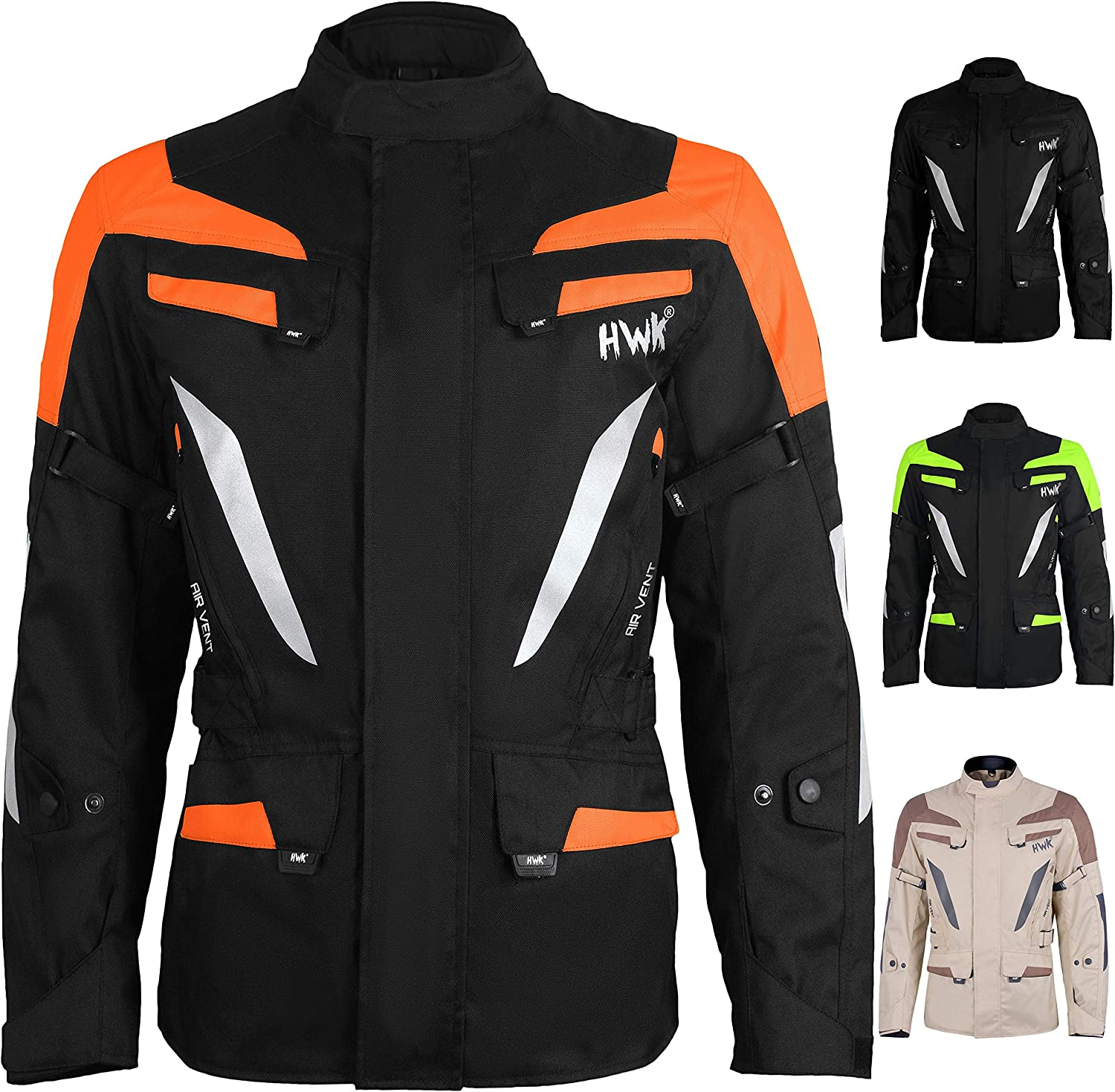Adventure//Touring Mens Motorcycle Jacket Adv Dual Sport Racing CE Armored Waterproof Windproof Jackets All-Weather Neon-Orange, L
