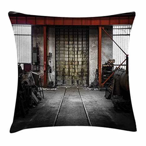 Merveilleux Ambesonne Industrial Throw Pillow Cushion Cover, Rusty Storage Warehouse  With Big Gate Doorway Aged Structure