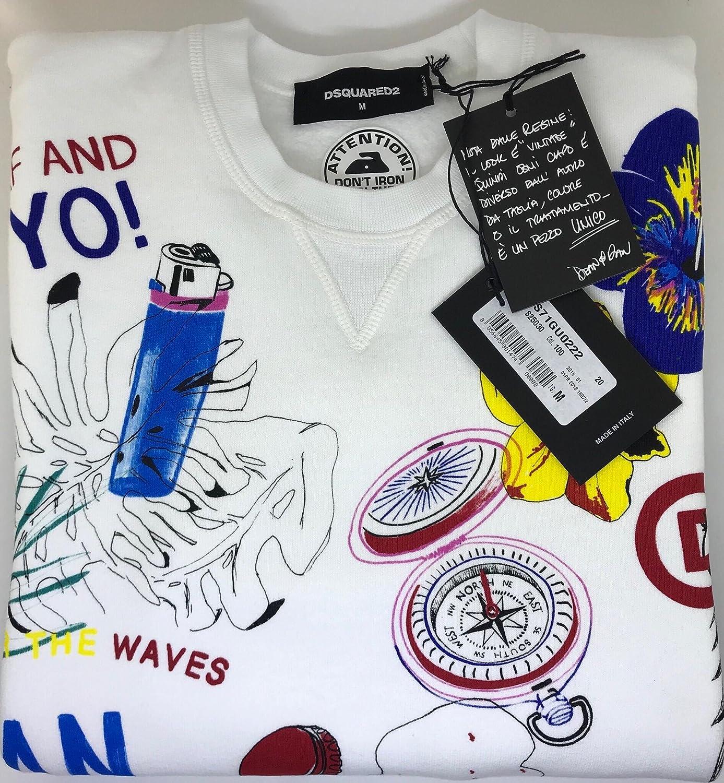Dsquared2 Dsquared Felpa Bianca Uomo Scritte Stampa Sweatshirt  Amazon.it   Abbigliamento f0df7ed4fa5f