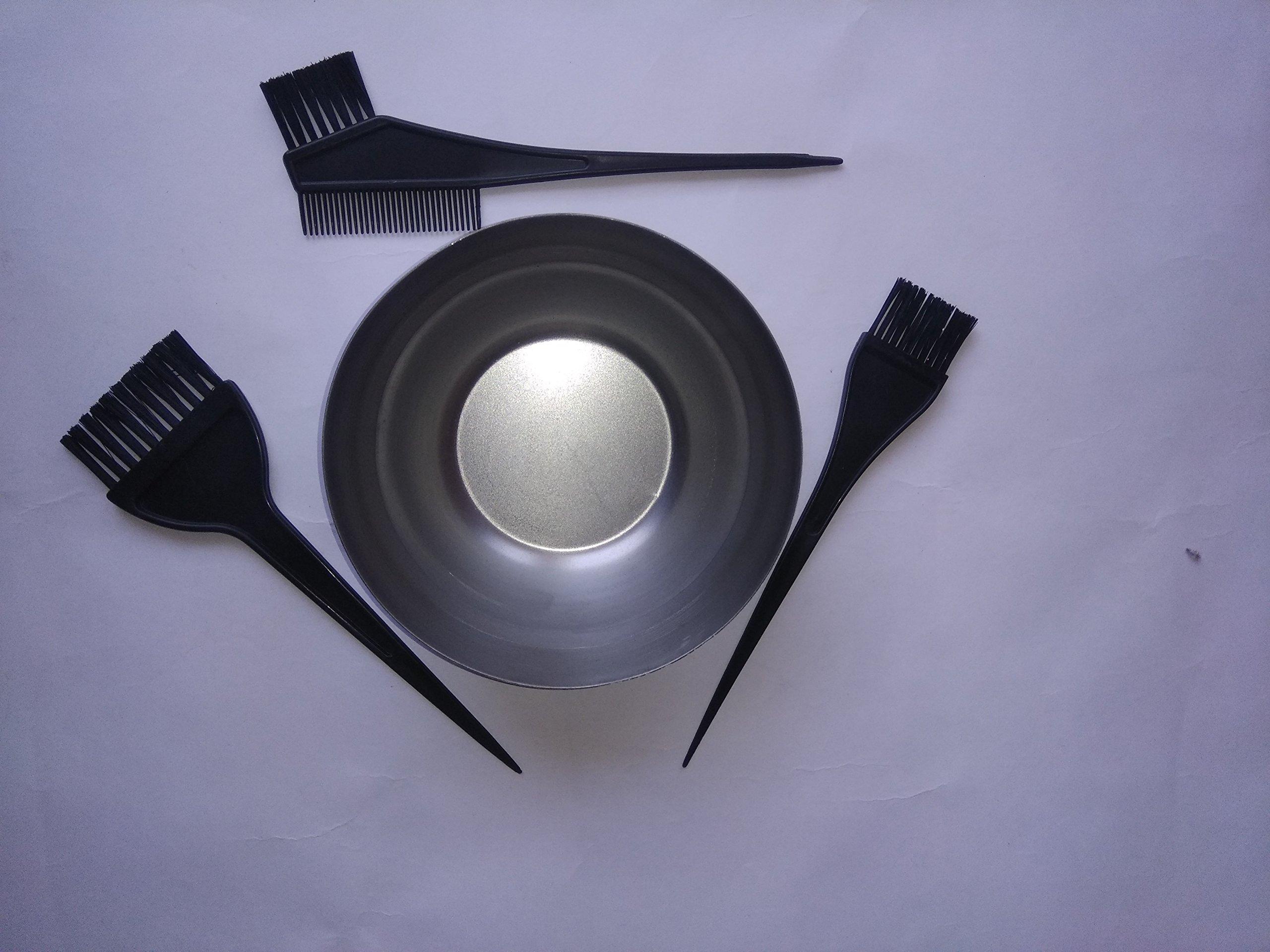 Heavy Duty Cast Iron Henna Bowl Mehendi Mixing Plate, Handmade Heena Metal Vessel for Making Natural Hair with Hair Dye Brush Set Black (3pcs Hairdressing Brushes)