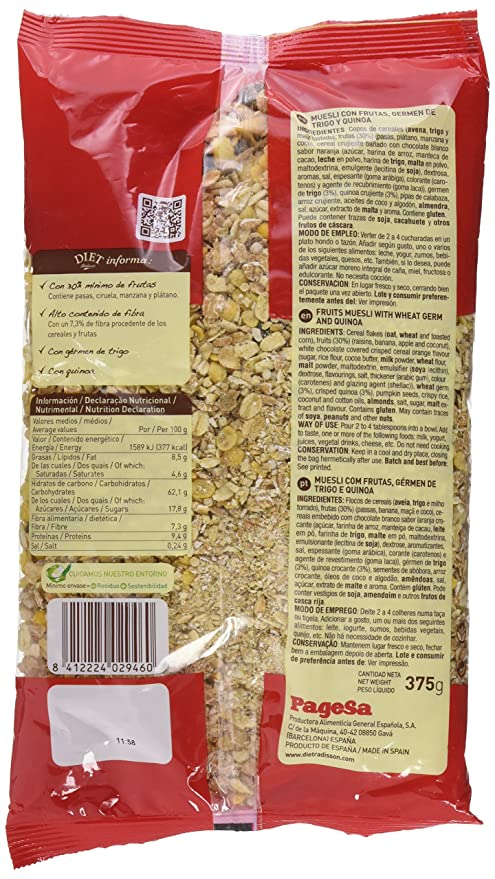 Diet Rádisson Muesli Con Frutas Germen De Trigo Y Quinoa - 375 g: Amazon.es: Amazon Pantry