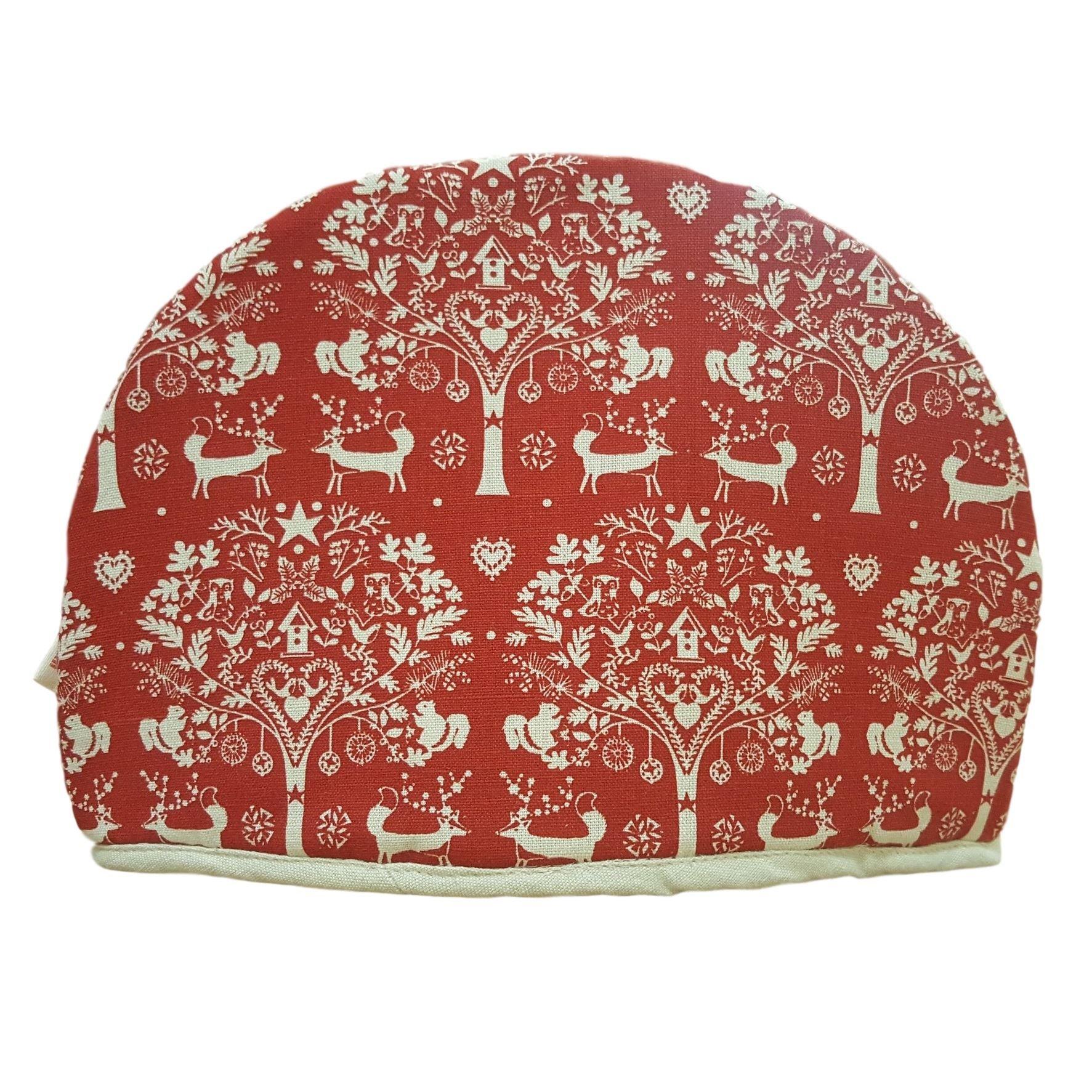 Dexam Tea Cozy Christmas Winter Woodland Design Red Folk Style