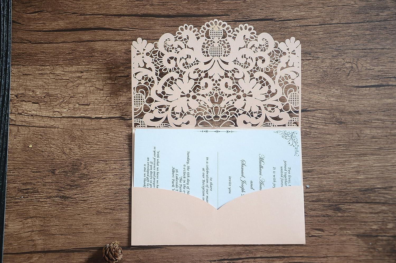 Sweet Blush Color Laser Cut Wedding And Birthday Invitation