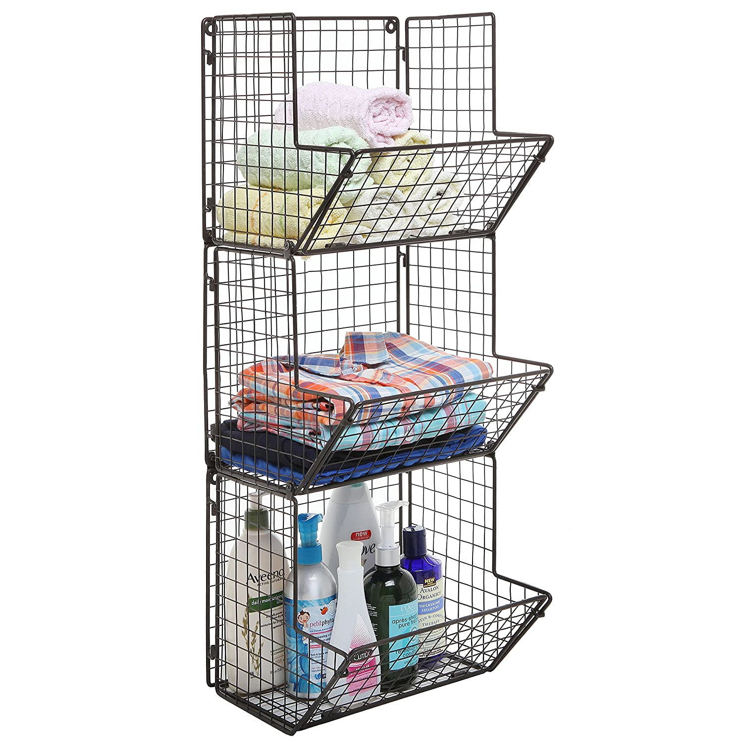 Amazon Rustic Brown Metal Wire 3 Tier Wall Mounted Kitchen