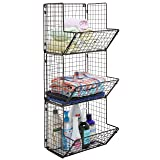 MyGift Rustic Brown Metal Wire 3 Tier Wall Mounted
