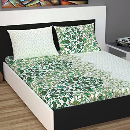 Divine Casa Cotton 144 TC Queen Size Bed Sheet with 2 Pillow Covers, Floral - Turquoise & Off White