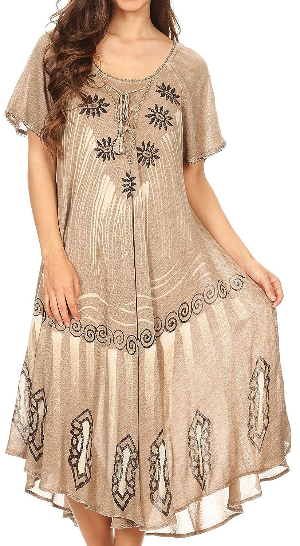 Sakkas Lida Womens Everyday Summer Relaxed Dress with Short Sleeves & Block Print 5056108333088