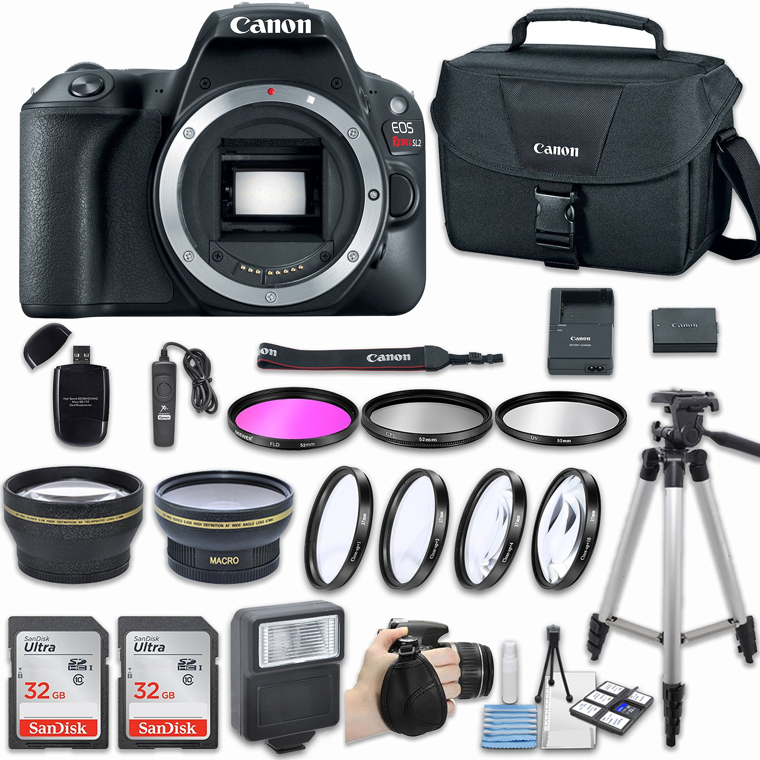 Canon EOS Rebel SL2 DSLR Camera (Body Only) with Bundle - Includes 58mm HD Wide Angle Lens + 2.2x Telephoto + 2Pcs 32GB Sandisk SD Memory + Filter & Macro Kit & More Accessories by Canon