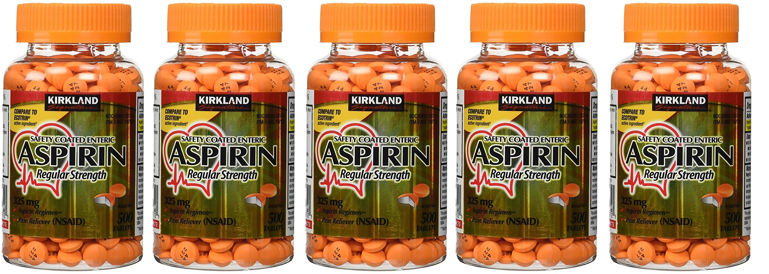 Kirkland Signature kEbSsh Enteric Coated Aspirin 325mg, 500 Tablets (5 Pack) by Kirkland