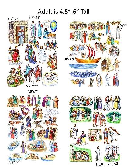 Story Life Of Jesus 13 Bible Stories Felt Figures For Flannel Board Precut