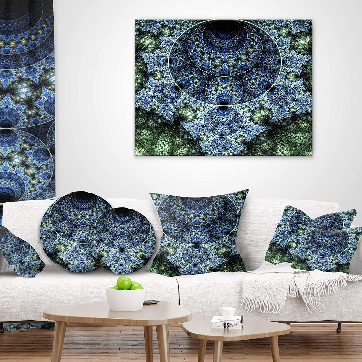 Sofa Throw Pillow x 20 in 12 in Designart CU7280-12-20 Blue and Green Spiral Fractal Art Abstract Lumbar Cushion Cover for Living Room Insert Printed On Both Side