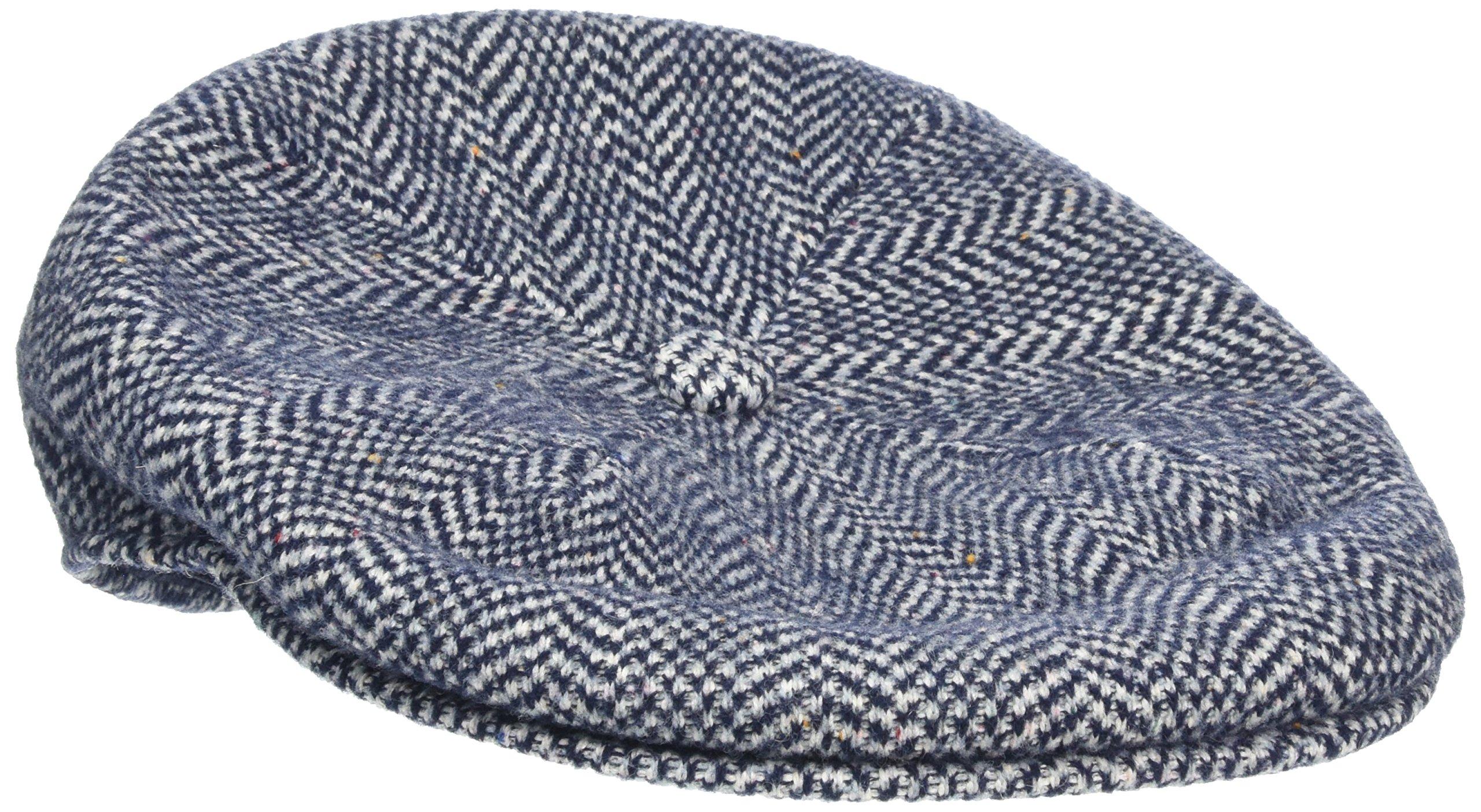 Kangol Unisex-Adult's Wool Herringbone 504 Cap, Dark Blue, S by Kangol