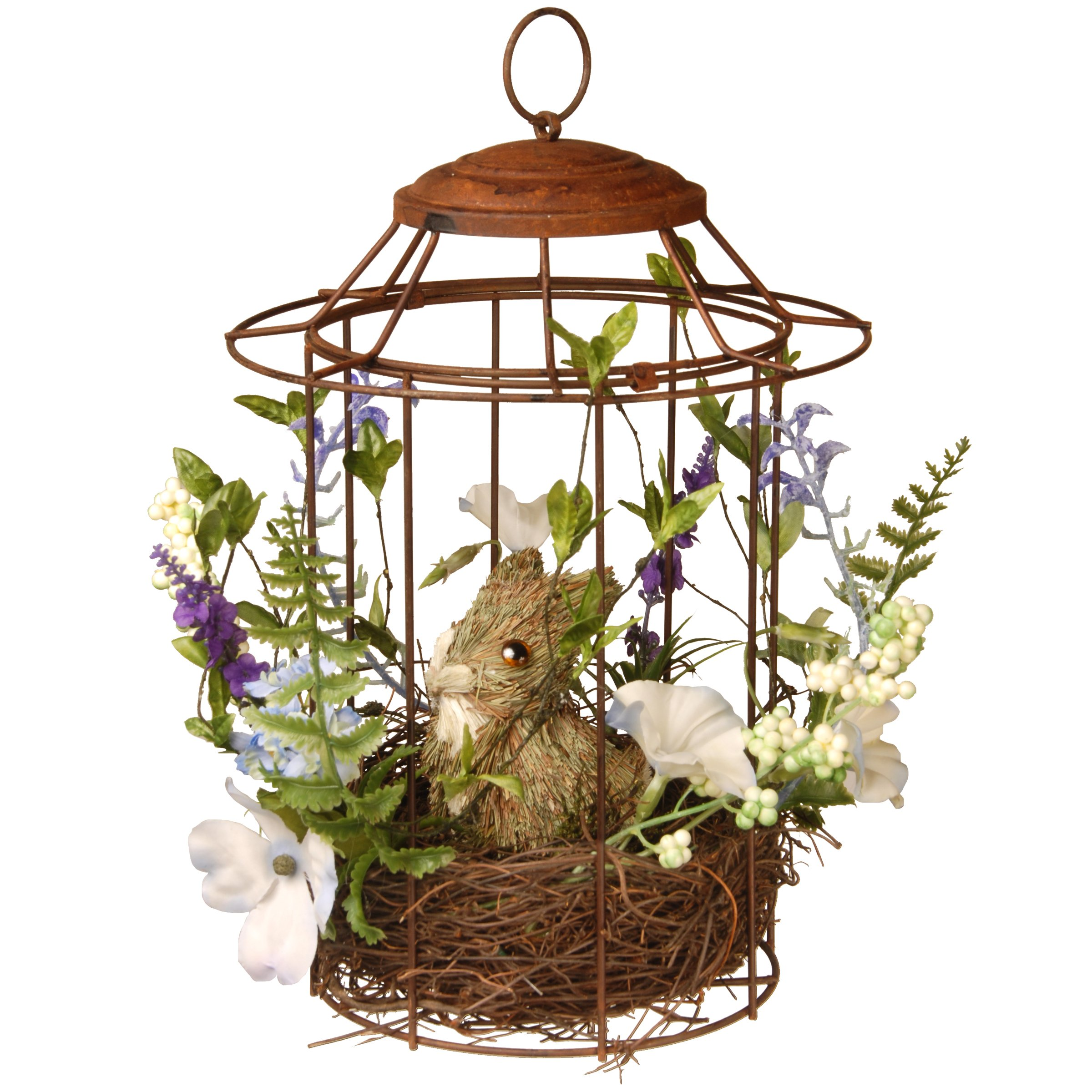 National Tree 12 Inch Wire Birdcage with Natural Wood Nest and Bunny (RAE-F030103A)