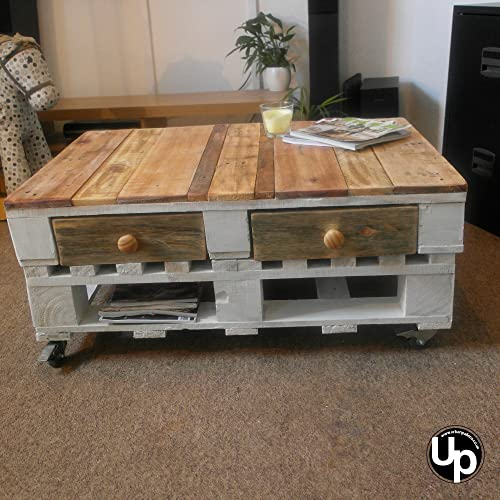 shabby chic pallet coffee table rustic farmhouse 2 drawer on castors - Pallet Coffee Table