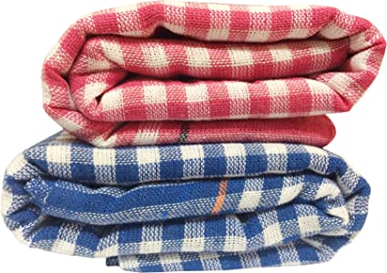 Fancyadda Handloom Khadi Light Weight, Quick Dry, Easy Carry Cotton Bath Towels (Multicolour, Large) -Pack of 2