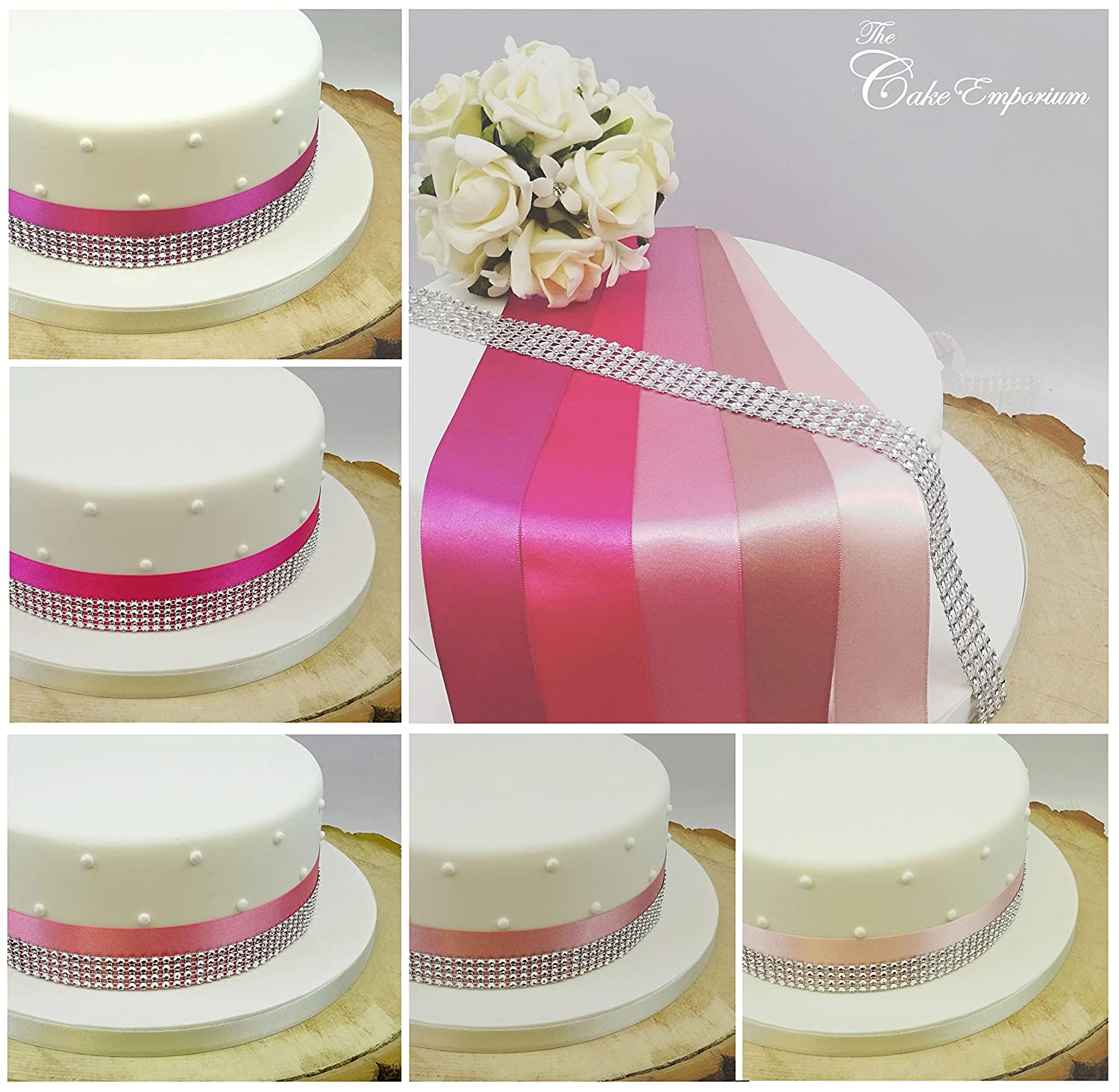 1 METRE SATIN RIBBON 35mm & 4 ROW DIAMANTE EFFECT TRIM CAKE ...