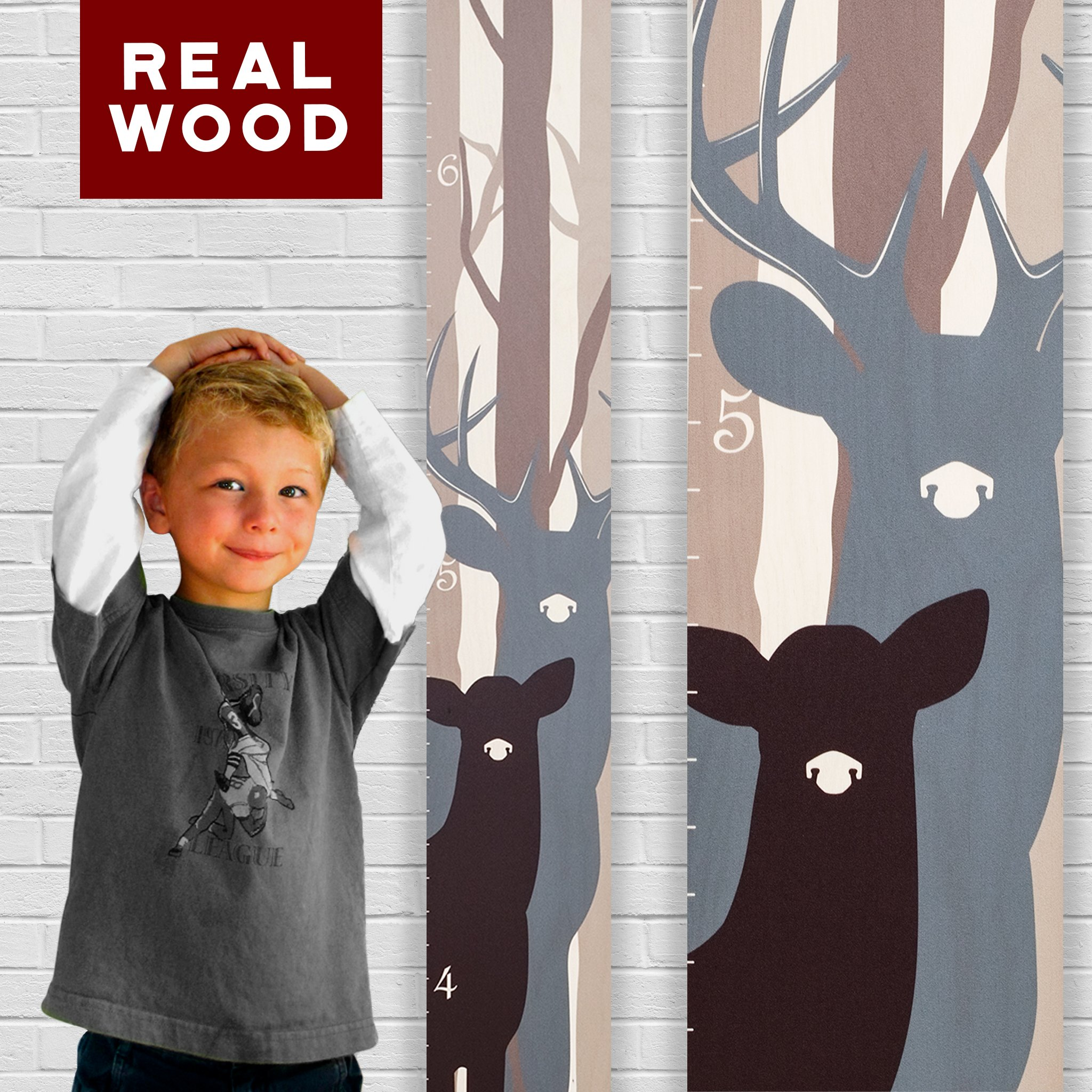 Growth Chart Art | Wooden Growth Chart for Boys and Girls | Measuring Kids Height Ruler Wall Décor | Height Chart for Boys | Gray Forest Deer