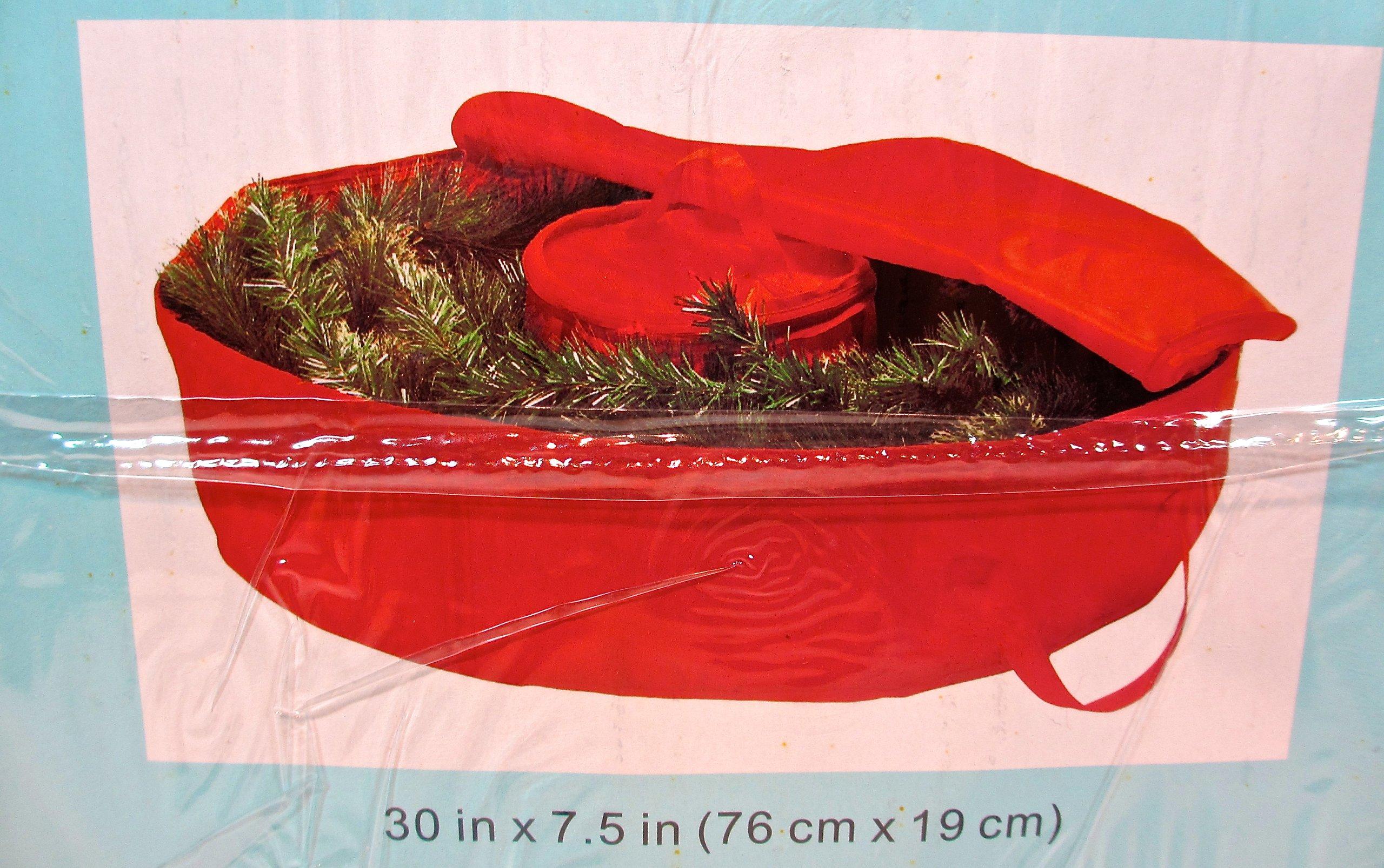 Organizing Essentials Jo-ann's Seasonal Wreath Storage Bag,handle,zipper Closure,red Polyester,30''x7.5''