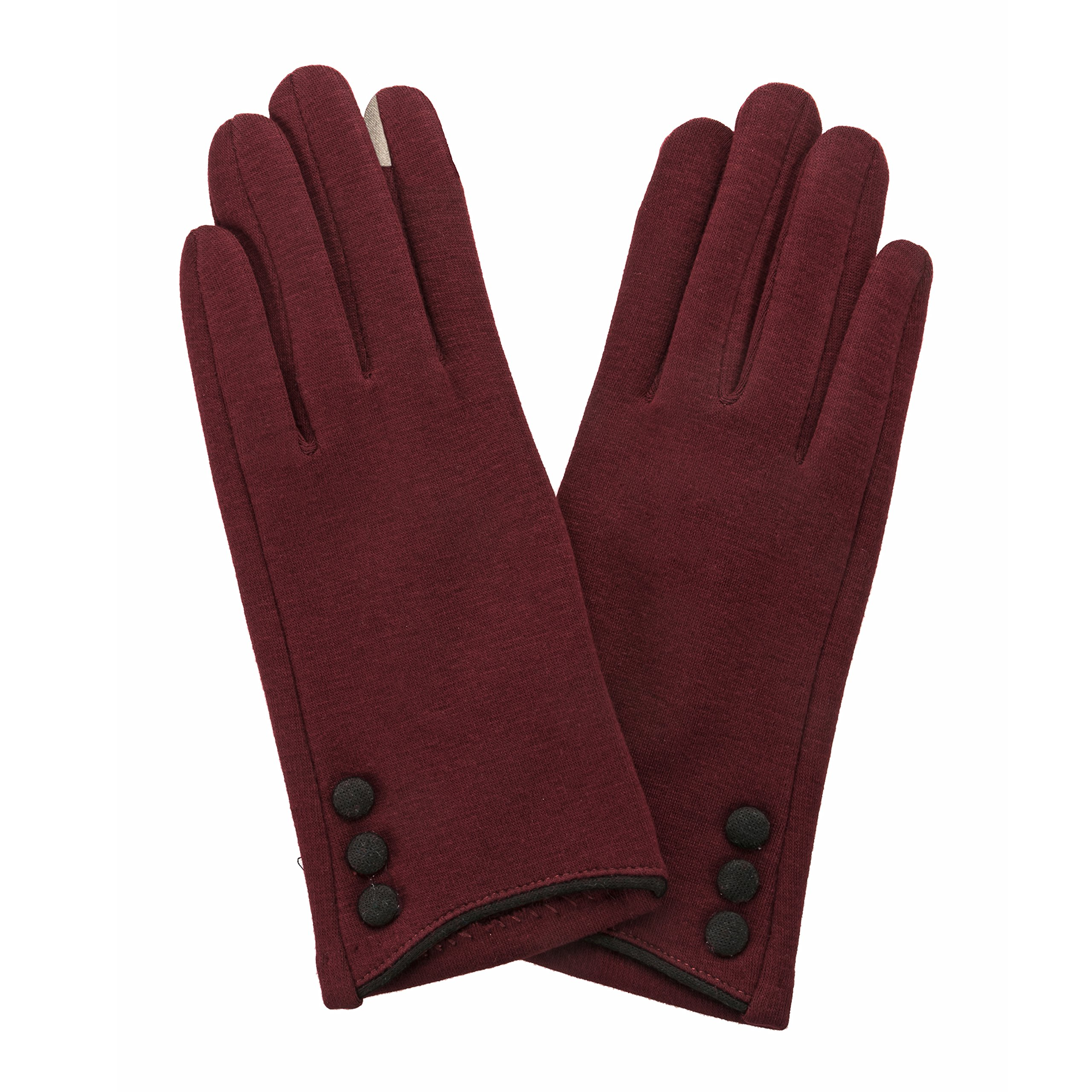 Occasionally Made Button Glove, Maroon/Black