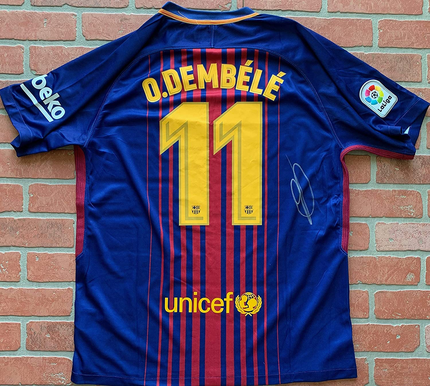 new style b2430 e4ae7 Ousmane Dembele autographed signed authentic jersey ...
