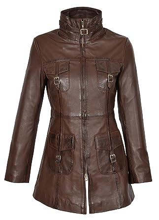 A1 FASHION GOODS Frauen Neueste 34 Ausgestattet Echte Ledermantel Damen Trendy Reißverschluss Jacke Carol Braun