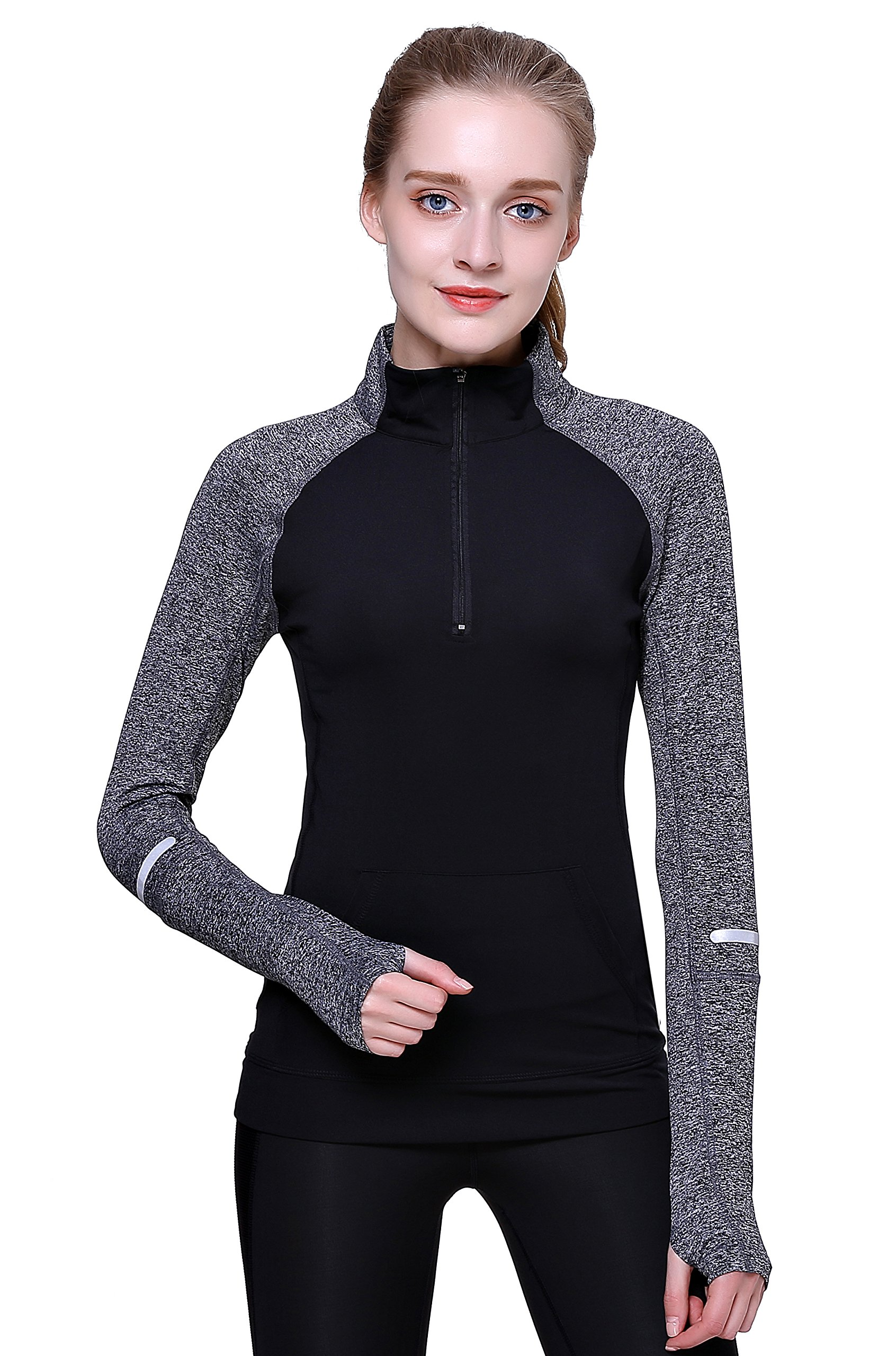 Women Yoga Long Sleeves Half Zip Sweatshirt Girl Athletic Workout Running Jacket (L, Black)