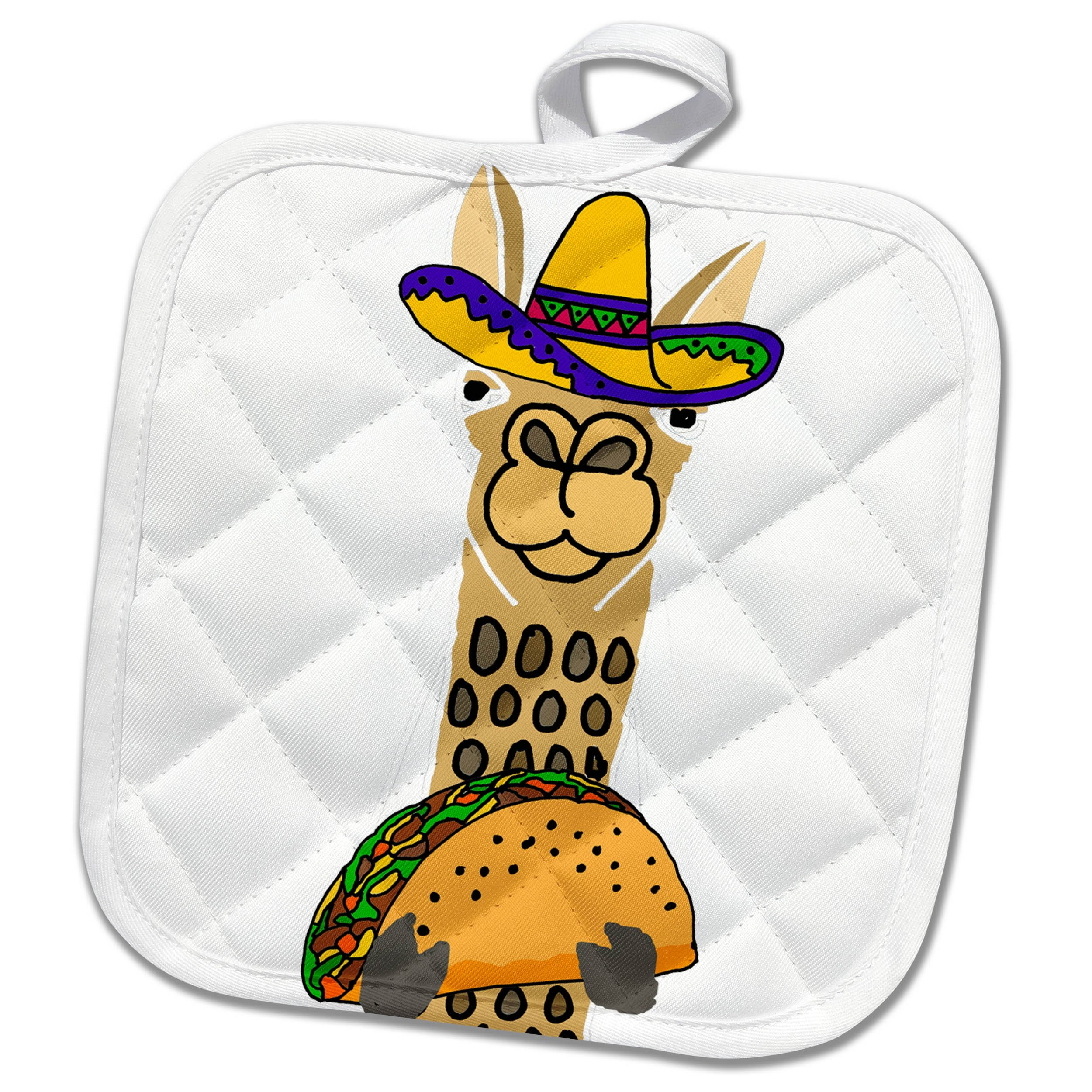 3dRose phl_263812_1 1 Pot Holder Funny Cute Llama Wearing Sombrero and Eating Taco Cartoon, 8 by 8'' by 3dRose (Image #1)