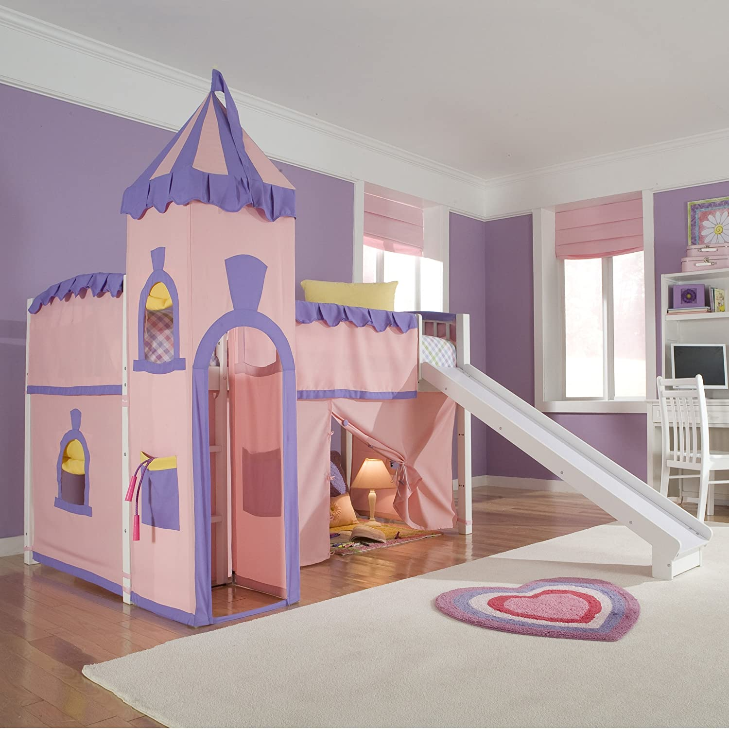 Schoolhouse Twin Princess Loft Bed w/ Slide, Perfect for Your Girls Bedroom Furniture Set: Amazon.in: Home & Kitchen
