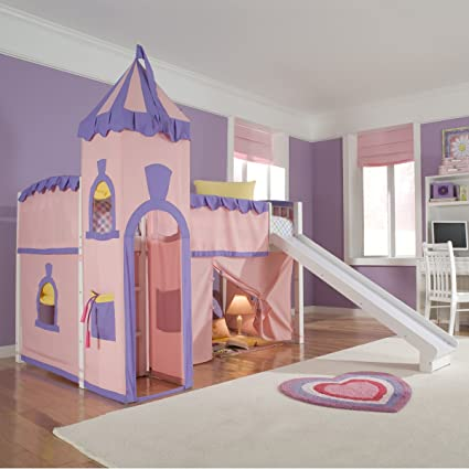 Amazon.com: Schoolhouse Twin Princess Loft Bed w/ Slide, Perfect for ...