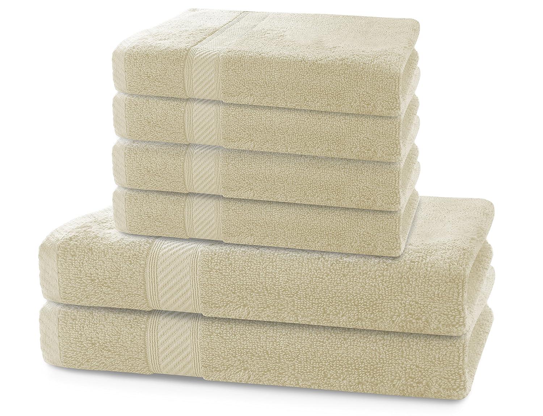 DecoKing Set di 6 Asciugamani Cotone bamb/ù Viscosa 4 Asciugamani 50x100 cm 2 Asciugamani 70x140 cm Ecru Avorio Assorbente Igienizzante Bamboo Bamby