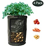 NINAT Grow Bags with Flap and Handles, Collapsible, 10 gallons, 4 Pack