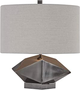 My Swanky Home Wide Faceted Geometric Shape Table Lamp | Silver Gray Star Metal Block Sculpture