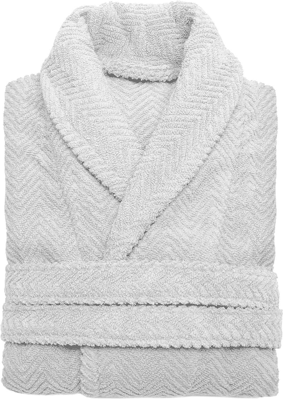 Linum Home Textiles HB93-LX Unisex Herringbone Weave Bathrobe, Large/X-Large, Light Grey