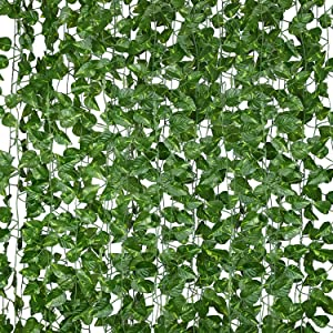 EWEE 12 Strands 118 Feet Green Artificial Ivy Leaf Plants Vine Hanging Garland Fake Foliage Flowers for Home Kitchen Garden Office Wedding Backdrop Arch Wall Decor (Scindapsus Leaves)
