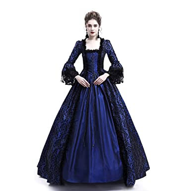 0a62f83be81e D-RoseBlooming Blue Masked Ball Gothic Victorian Costume Dress (X-Small)