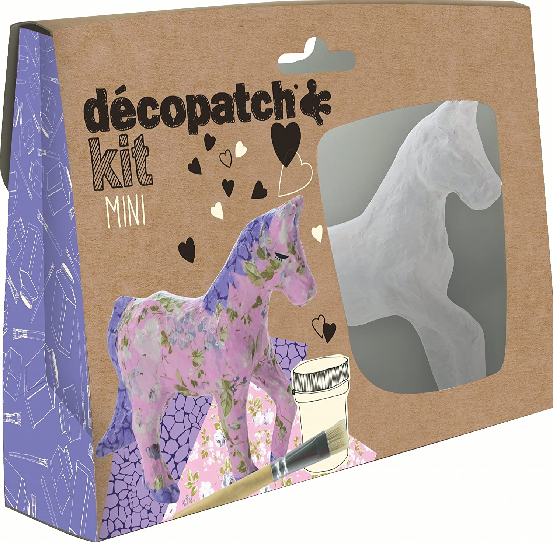 Decopatch Mini kit per unicorno in cartapesta, 19 x 13,5 x 4,5 cm, colore: marrone KIT010O
