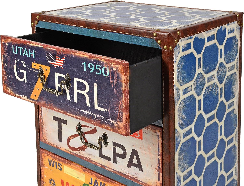 ts-ideen Commode 3 tiroirs Table de nuit UTAH Style vintage//us/é Bords renforc/és en cuir synth/étique Chambre salon entr/ée