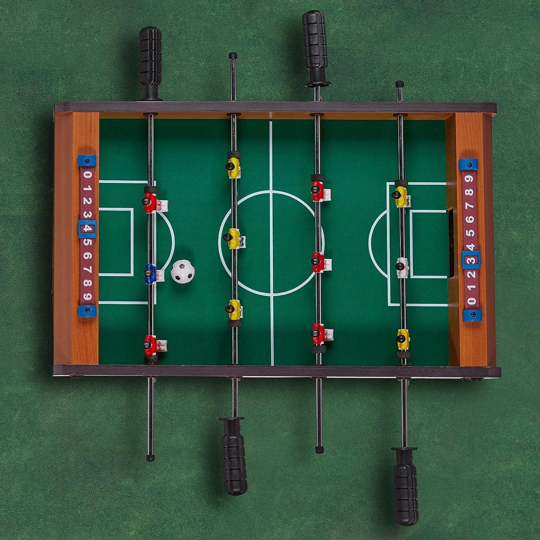 Relaxdays Mesa Multijuegos 4 en 1 Futbolín, Ping Pong, Billar y Hockey, DM, Marrón, 15 x 51 x 51 cm: Amazon.es: Hogar