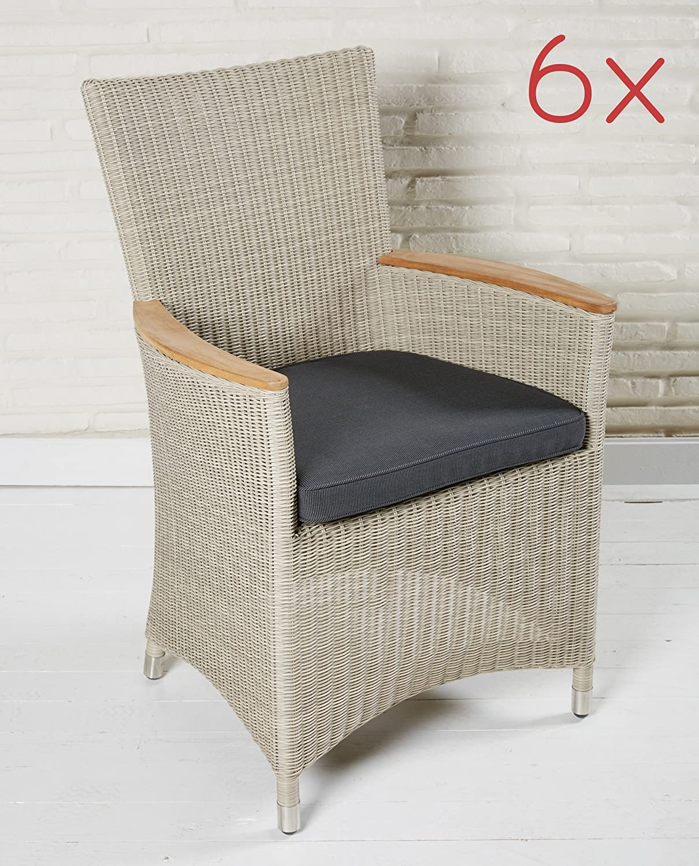 Gartenstuhl Set 6 Stück Gartensessel Armlehnstühle mit Teak Poly Rattan Stühle